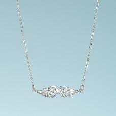 Srebrny rodowany naszyjnik ze skrzydłami anioła, próba Ag925 45cm