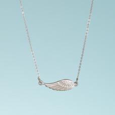 Srebrny rodowany naszyjnik ze skrzydłem anioła, próba Ag925 45cm