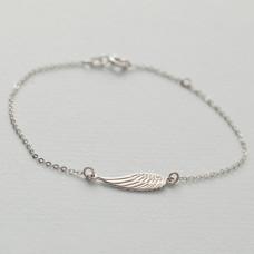 Srebrna rodowana bransoletka ze skrzydłem anioła, próba Ag925 19cm