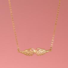 Srebrny, pozłacany naszyjnik ze skrzydłami anioła, próba Ag925 45cm