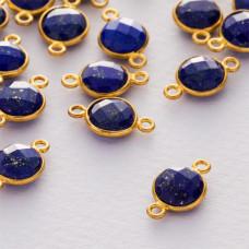Lapis lazuli krążek fasetowany łącznik w okuciu pozłacanym ag925  15x9mm