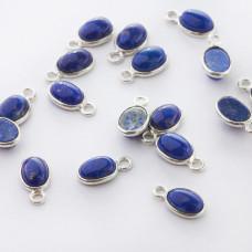Lapis lazuli owal w okuciu zawieszka AG925 7mm