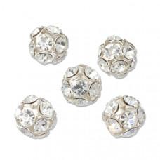 Przekładka srebrna kulka z diamencikami, Ag925 13mm
