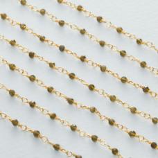 Łańcuch srebrny ag925 pozłacany z kryształem dymnym fasetowanym 2mm