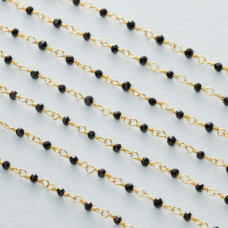 Łańcuch srebrny ag925 pozłacany ze spinelem fasetowanym 2mm