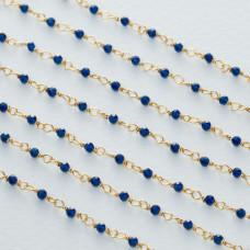 Łańcuch srebrny ag925 pozłacany ze spinelem niebieskim fasetowanym 2mm