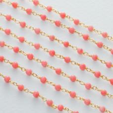 Łańcuch srebrny ag925 pozłacany z różowym koralem  3mm
