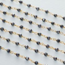 Łańcuch srebrny ag925 pozłacany z hematytem fasetowanym 3mm