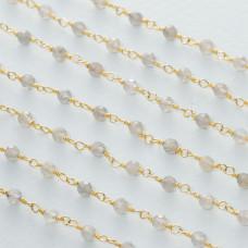Łańcuch srebrny ag925 pozłacany z labradorytem fasetowanym 3mm