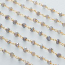 Łańcuch srebrny ag925 pozłacany z labradorytem platerowanym fasetowanym 4x2.5mm