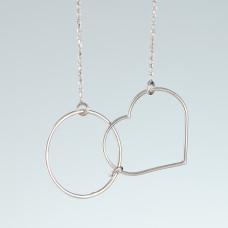 Srebrny rodowany naszyjnik koło i serce, próba Ag925 45cm