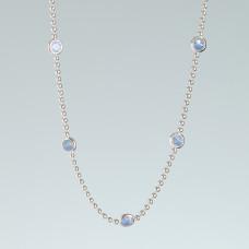 Srebrny rodowany naszyjnik z oczkami blue opal, próba Ag925 45cm