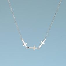 Srebrny, rodowany naszyjnik trzy krzyżyki, próba Ag925 48-53cm