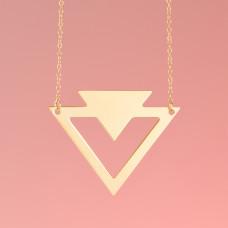 Srebrny, pozłacany naszyjnik dwa trójkąty, próba Ag925 46cm