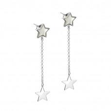 Kolczyki rodowane gwiazdki emaliowane ag925