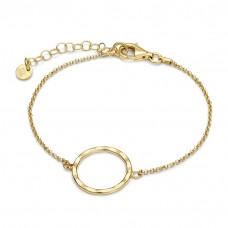 Bransoletka złocona z kółkiem młotkowanym ag925