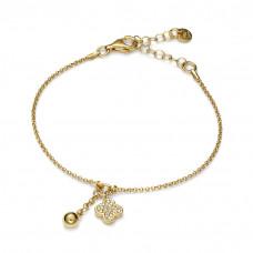 Bransoletka złocona z kwiatkiem z cyrkoniami i kuleczką ag925