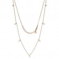Naszyjnik różowe złoto długi z serduszkami ag925