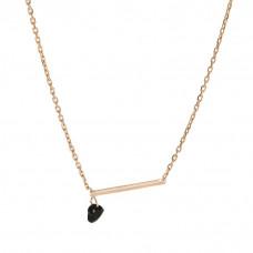 Naszyjnik różowe złoto z patyczkiem i serduszkiem ag925