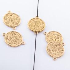 Srebrna moneta łącznik pozłacany 14,5mm