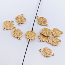 Srebrna moneta mała łącznik pozłacany 10,5mm