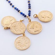 Srebrna moneta zawieszka Elżbieta II Dei Gratia Regina pozłacana 17mm