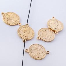 Srebrna moneta łącznik Elżbieta II Dei Gratia Regina pozłacana 17mm