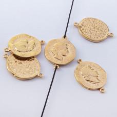 Srebrna moneta antyczna łącznik pozłacany 16mm