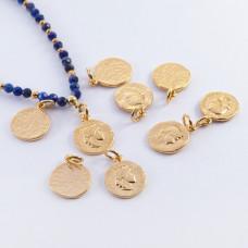Srebrna moneta antyczna mała zawieszka pozłacana 11mm