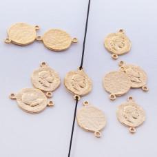 Srebrna moneta antyczna mała łącznik pozłacany 11mm