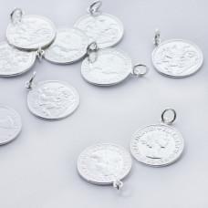 Srebrna zawieszka moneta Królowa Elżbieta AG925 srebrny 15mm