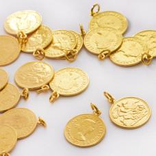 Srebrna zawieszka moneta Królowa Elżbieta AG925 złoty 15mm