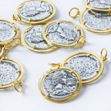 Srebrna antyczna moneta w złotym okuciu AG925 złoty 23mm