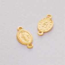 Srebrny łącznik Matka Boska dwa oczka złocona ag925 16x8mm