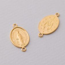 Rozgałężnik Matka Boska dwa oczka duży Ag925 pozłacany 23x13mm złoty