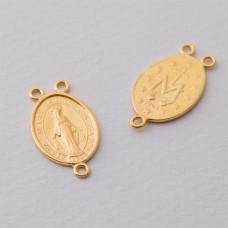Rozgałężnik Matka Boska trzy oczka duży Ag925 pozłacany 23x13mm złoty
