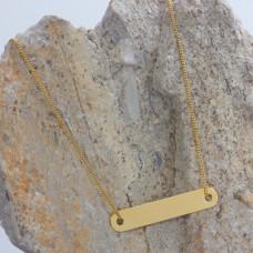 Zawieszka celebrytka prostokąt zaokrąglony złoty 30x5.5mm