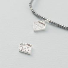 Srebrna zawieszka diament, próba Ag925 13.5x10.5mm