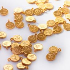 Srebrna mini zawieszka chińska monetka AG925 pozłacana 7mm