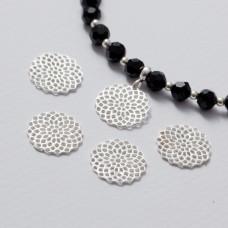 Zawieszka ażurowa rozeta srebrny 15 mm