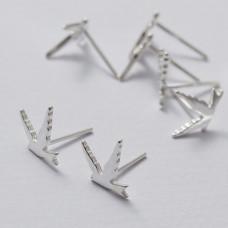 Kolczyki sztyfty jaskółki srebrne 10 mm