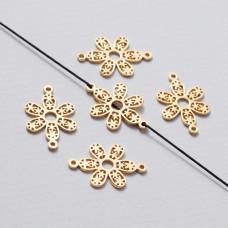 Rozgałęźnik kwiatek ażurowy złoty 22 mm