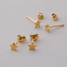 Kolczyki sztyfty gwiazdki Ag925 pozłacane 5x5mm złoty