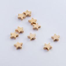 Srebrny koralik gwiazdka pozłacana 6mm