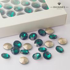 Kryształy Rhinnes flat diamond emerald 14mm