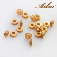 Koralik oponka z cyrkoniami złocona 7mm