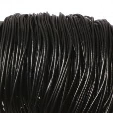 Rzemień naturalny lakierowany czarny 2mm