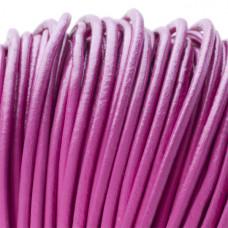 Rzemień naturalny okrągły różowy 3mm