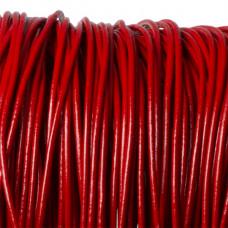 Rzemień naturalny lakierowany czerwony 2,5mm