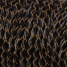Rzemień naturalny pleciony czarny 4mm